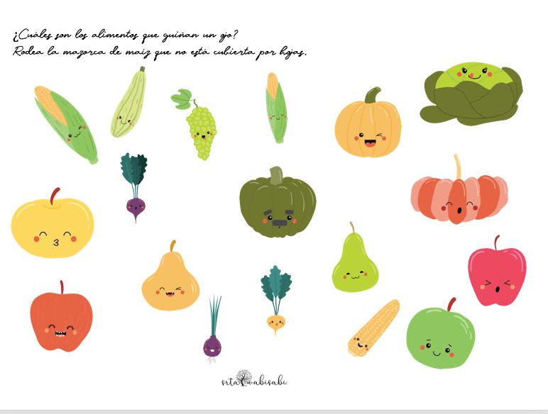 verduras y hortalizas ejercicio de atención