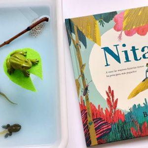 libro de nita con una bandeja de agua con muñecos del ciclo de la rana