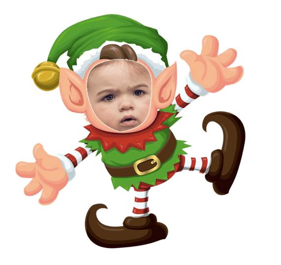 foto de cara de niño dentro de un elfo dibujado