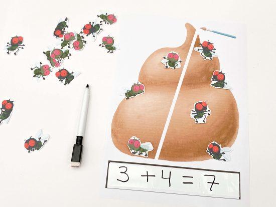 juego cacas y moscas matematicas